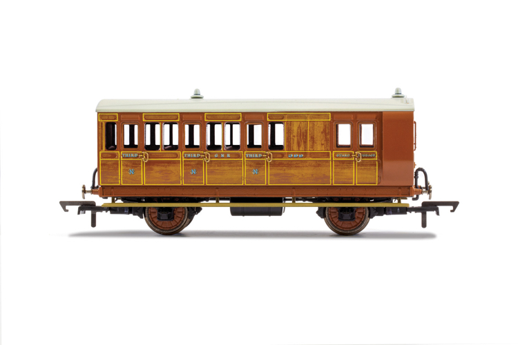 Hornby R40059 GNR, 4 Wheel Coach, Brake 3rd Class, 399 - Era 2