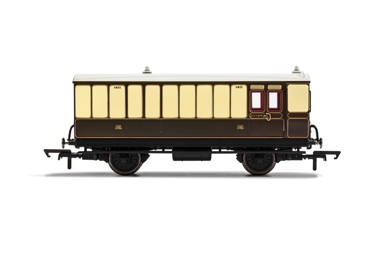 Hornby R40068 GWR, 4 Wheel Coach, Brake Baggage, 1411 - Era 2/3