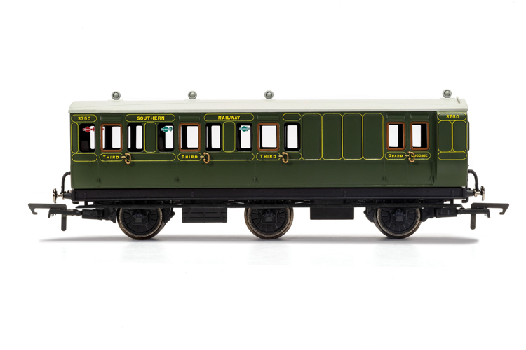 Hornby R40087 SR, 6 Wheel Coach, Brake 3rd Class, 3750 - Era 3