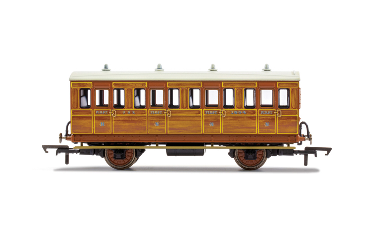 Hornby R40103 GNR, 4 Wheel Coach, 1st Class, Fitted Lights, 1534 - Era 2