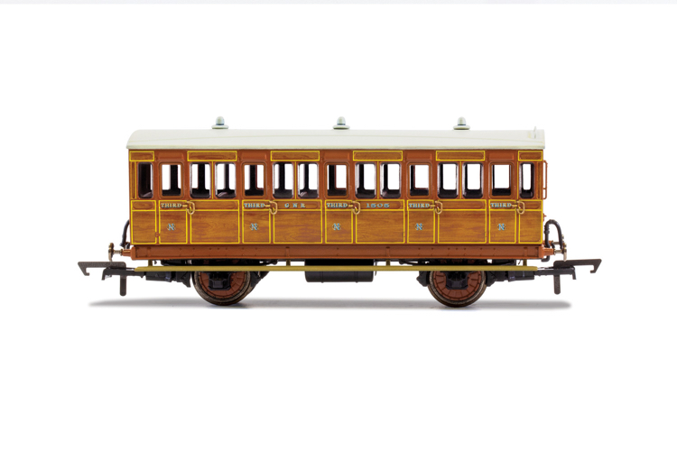 Hornby R40104A GNR, 4 Wheel Coach, 3rd Class, Fitted Lights, 1505 - Era 2
