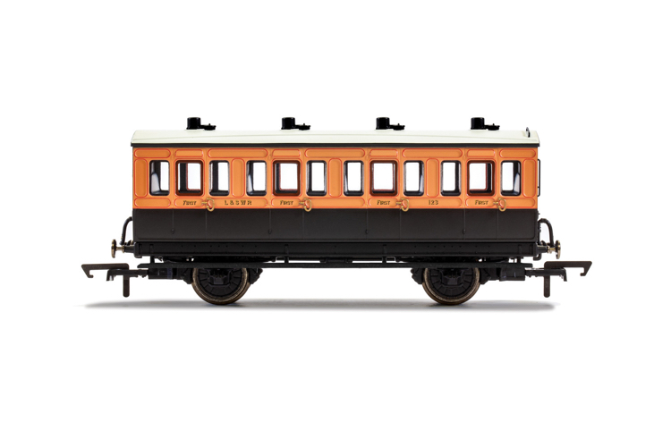 Hornby R40107 LSWR, 4 Wheel Coach, 1st Class, Fitted Lights, 123 - Era 2