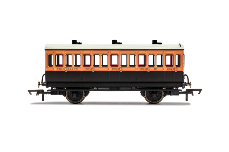 Hornby R40108A LSWR, 4 Wheel Coach, 3rd Class, Fitted Lights, 308 - Era 2