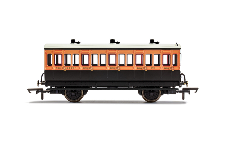 Hornby R40108 LSWR, 4 Wheel Coach, 3rd Class, Fitted Lights, 302 - Era 2