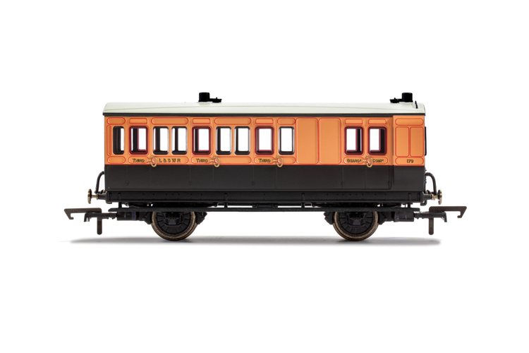 Hornby R40110 LSWR, 4 Wheel Coach, Brake 3rd Class, Fitted Lights, 179 - Era 2