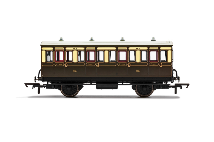Hornby R40111 GWR, 4 Wheel Coach, 1st Class, Fitted Lights, 143 - Era 2/3