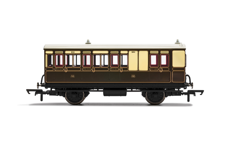 Hornby R40114 GWR, 4 Wheel Coach, Brake 3rd Class, Fitted Lights, 301 - Era 2/3