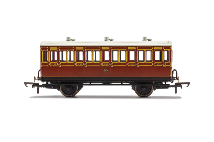 Hornby R40116 LB&SCR, 4 Wheel Coach, 3rd Class, Fitted Lights, 882 - Era 2
