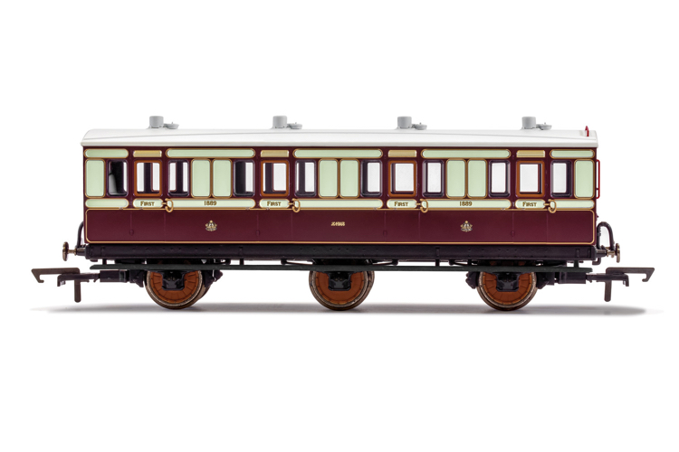 Hornby R40119 LNWR, 6 Wheel Coach, 1st Class, Fitted Lights, 1889 - Era 2