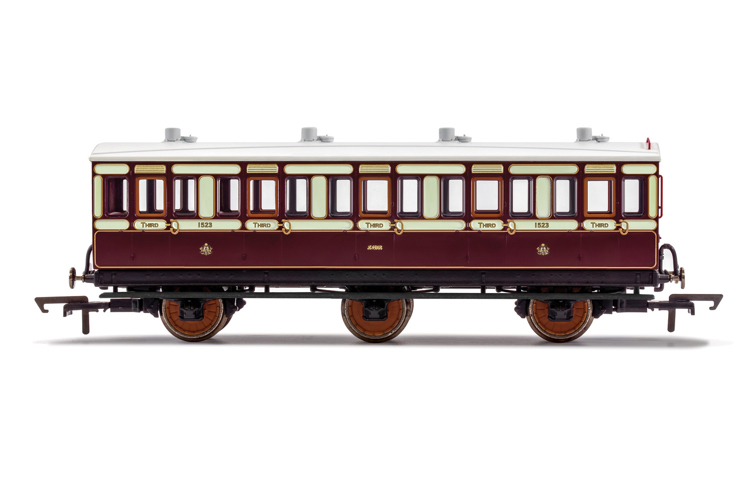 Hornby R40120 LNWR, 6 Wheel Coach, 3rd Class, Fitted Lights, 1523 - Era 2