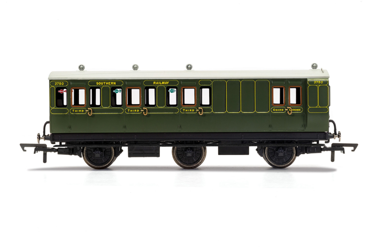 Hornby R40134 SR, 6 Wheel Coach, Brake 3rd Class, Fitted Lights, 3750 - Era 3