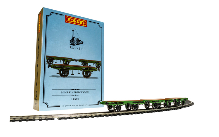 Hornby R60014 L&MR, Flat Bed Wagon Pack - Era 1