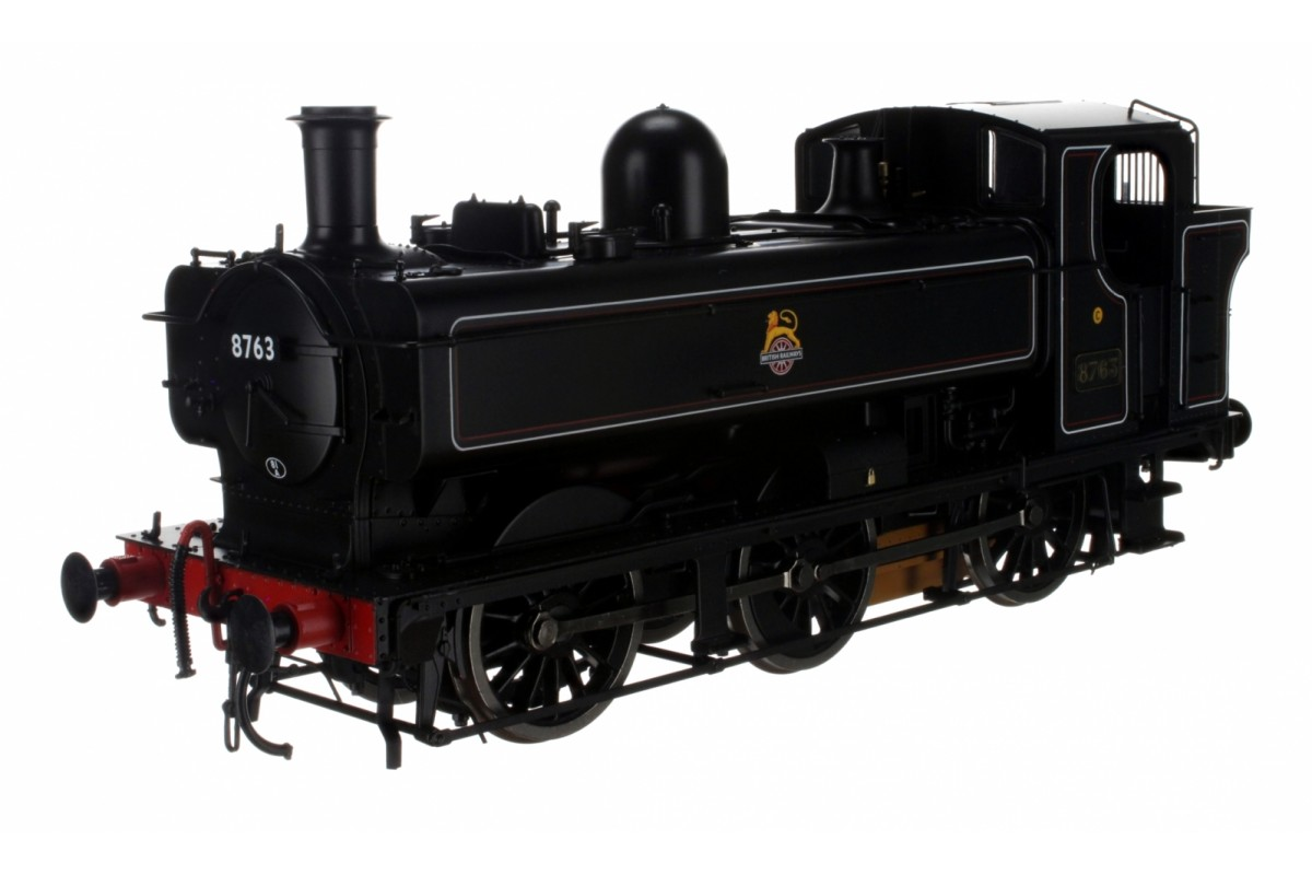 Dapol 7S-007-012 O Gauge Class 57XX Pannier 8763 BR Lined Black Early Crest