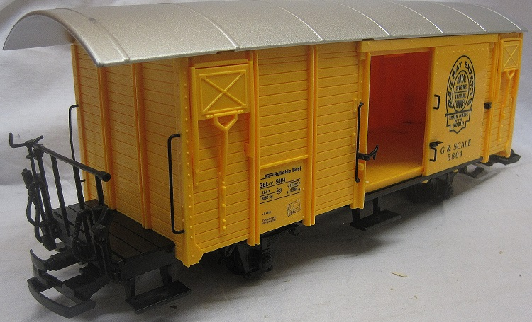 TRAIN 757-5804Y 4 Wheel Sliding door Box Van Yellow