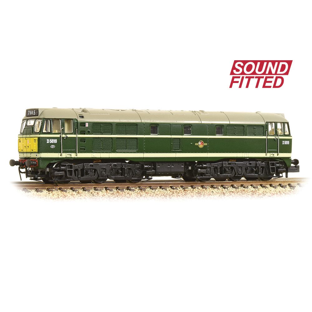 Graham Farish 371-111ASF Class 31/1 D5616 BR Green (Small Yellow Panels) - SOUND FITTED