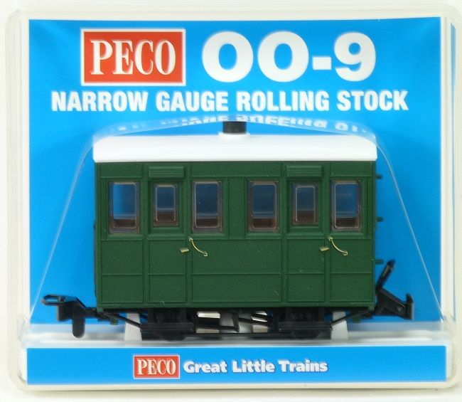 Peco GR-500UG Glyn Valley Tramway Enclosed-Side Coach Green Unlettered