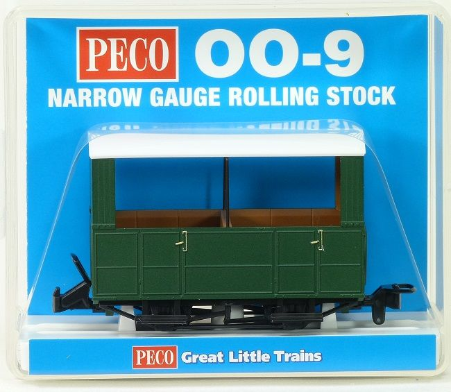Peco GR-520UG Glyn Valley Tramway Open Sided Coach Green Unlettered